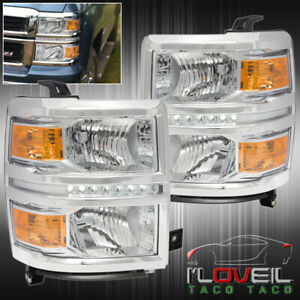 Chrome Clear Led Drl Headlights Lamps Lh Rh For 2014 2015 Chevy Silverado 1500