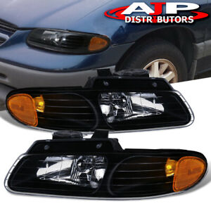 For 1996 2000 Chrysler Town Country Black Housing Amber Reflector Headlight Pair