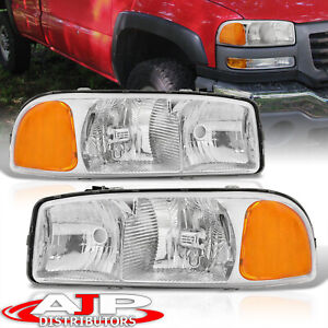 For 2000 2006 Gmc Yukon Chrome Housing Amber Reflector Headlights Replacement
