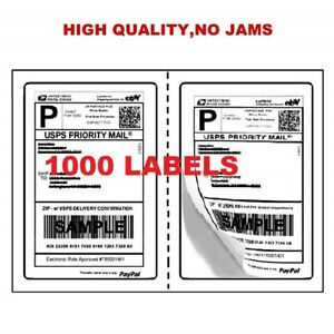 1000 Self Adhesive Half Sheet Shipping Labels 2 8 5 x5 5 Labels Per Sheet