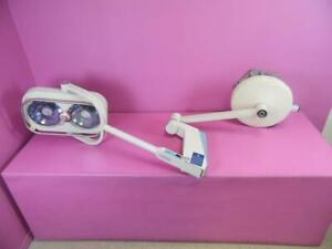 Castle Sybron 2510 Dual 150w Lamp Ceiling Mount Surgical Or Exam Light Focusable