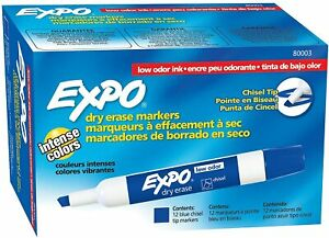 Expo Chisel Dry Erase Markers For Whiteboards 80003 Blue 12 Count