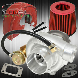 T3 T4 Turbo V band Internal Wastegate Jdm Air Filter Heat Shield Cover Red