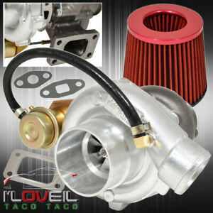 T3 T4 Turbo Charger Turbine Vband Flange Internal Wastegate Jdm Air Filter Red