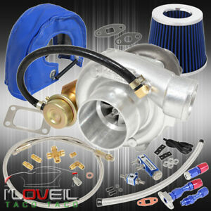 T3 T4 Turbo Air Filter Heat Shield Oil Line Kit Boost Controller Blue