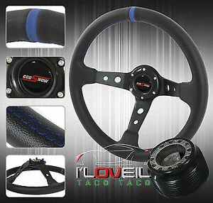 89 05 Eclipse 350mm Deep Steering Wheel Leather Hub Adapter Combo Kit Horn