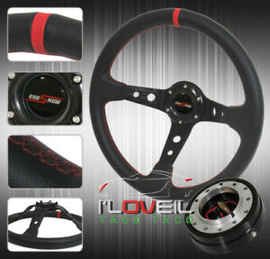 320mm Pvc Leather Wrapped Steering Wheel Black 1 5 Thin Quick Release