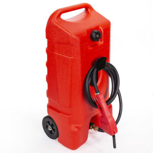 14 Gallon Portable Gas Fuel Tank Container W fluid Caddy Transfer Pump 10ft Hose