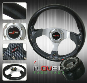 For 320mm Steering Wheel Leather Cf Hub Adapter Combo Kit jdm Horn Button