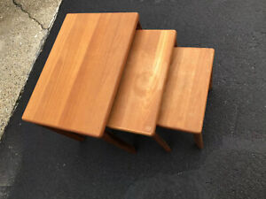 Vintage Mid Century Modern Danish 3 Pc Solid Teak Nesting Side Tables Denmark