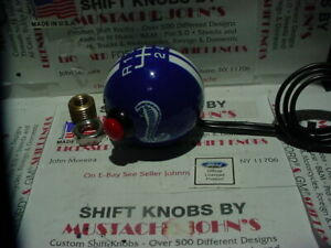Rally Blue W White Stripes Ford Cobra 6 Speed Shift Knob W Lockout Nos Button