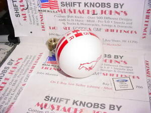Rally White W Red Stripes Mustang Pony 5 Speed Shift Knob Ford Licensed