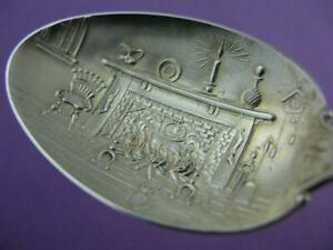 Sterling Watson Souvenir Spoon Santa Claus Merry Christmas W Fire Place Scene