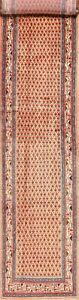 Excellent All Over Light Peach 14 Ft Long Runner Botemir Hand Knotted Rug 3 X14