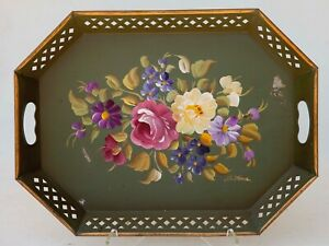 Vintage Metal Nashco Toleware Serving Tray Hand Painted Floral Green