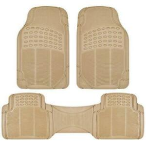 Anti Skid And Wear Resistant Rubber Black Beige 3pcs Car Floor Mats