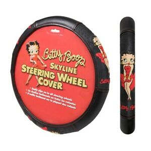 Betty Boop Skyline Red Dress Car Truck Synthetic Leather Steering Wheel Cover