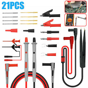 21 In 1 Multimeter Test Lead Kit For Fluke Electrical Alligator Clip Test Probe