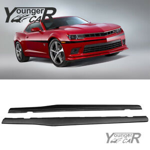 For 2010 2015 Chevy Camaro Side Skirts Extension Lip Rocker Panel Matte Black Pp
