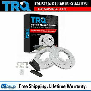 Trq Brake Rotor Drilled Slotted Coated Ceramic Pad Front Set For Nissan