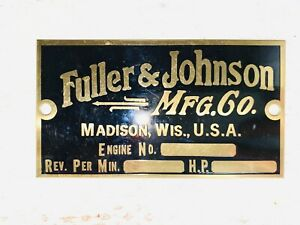 Fuller Johnson Reproduction Tag Name Plate Tractor Hit Miss Gas Engine Brass