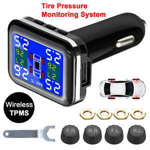 Tpms Auto Car Wireless Tire Pressure Alarm Monitor System With 4 External Sensor