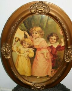 Antique Oval Gesso Frame Bubble Convex 3 Children W Bell Balloon 25 X 19