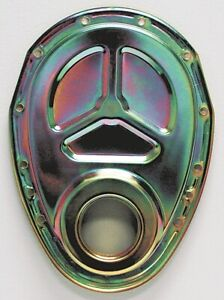 Renegade Engine Timing Cover 75555 Gold Iridite Steel For Chevy 262 400 Sbc