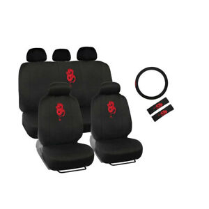 New Red Dragon Car Black Seat Covers Steering Wheel Cover Seat Belt Pads Set