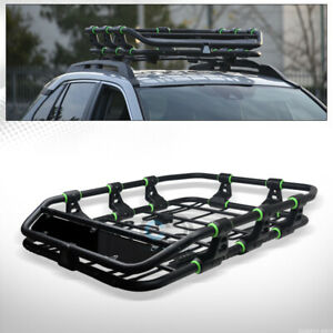 Matte Blk green Modular Hd Roof Rack Basket Cargo Luggage Tray fairing Universal