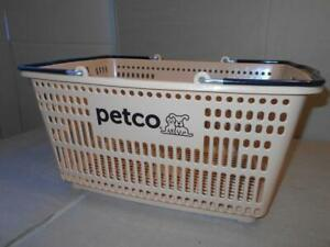 Petco Shopping Hand Basket set Of 4 Tan Plastic W Rubber Metal Handles