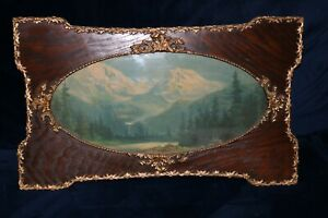Antique Gesso Frame With Old Mountain Scene Print Art Nouveau W Oval Glass