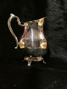 Antique 1883 F B Rogers Silver Co Plated Footed Lipped Water Pitcher