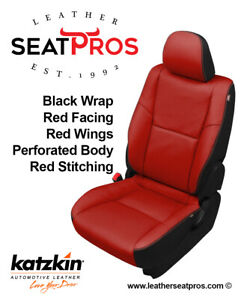 Katzkin Leather Seat Covers Kit 2012 2015 Toyota Tacoma Double Cab Black Red