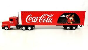 Coca Cola Brand 1997 Red Diecast Freight liner Tractor Trailer with Santa