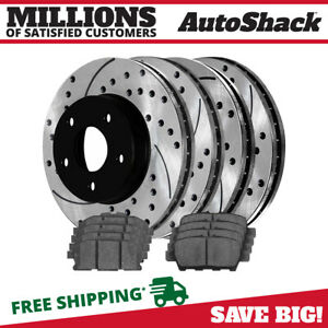 Front Rear Drilled And Slotted Brake Rotors Ceramic Pads For 04 12 Nissan Quest