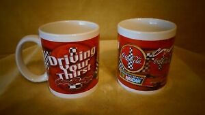 1 COLLECTIBLE CERAMIC COCA-COLA  MUGS SET OF 2  NASCAR  BY HOUSTON HARVEST