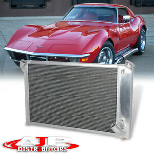 Tri Core 3 row Full Aluminum Cooling Radiator For 1969 1972 Corvette C3 5 7l V8