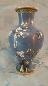 Vintage Antique Cloisonne Vase 12 With Birds Tree And Flowers