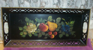 Vtg Toleware Serving Tray Hand Painted Fruit Open Work Tag Nash Company Ny Ny