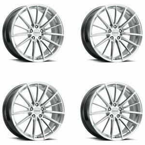 Set 4 20 Vision 473 Axis Hyper Silver Machined Face Wheels 20x8 5 5x112 35mm