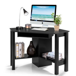 Wooden Corner Desk With Drawer Computer Pc Table Study Office Room Black