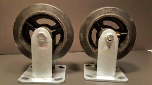 Set Of 2 Global Industrial 6 X 2 Rigid Mold on rubber Casters W grease Fitting
