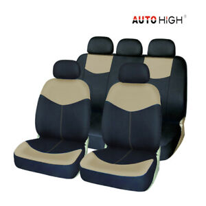 Beige Auto Seat Cover Front Bench Headrest Car Seat Covers For Car Truck Suv Van