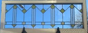 Antique Chicago Prairie Style Stained Leaded Glass Transom Window 52 X 21
