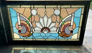 Antique Victorian Stained Leaded Glass Transom Window W Bevels
