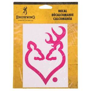 Browning 6 Buck Doe Heart Decal Hot Pink New