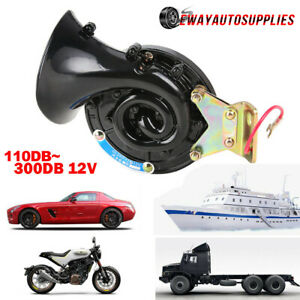 Black 300db 12v Super Loud Electric Snail Air Horn For Motorcycle Car Truck Boat