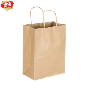 250 Natural Brown Kraft Paper Shopping Bags Recyclable 8 X 4 1 2 X 10 5 8