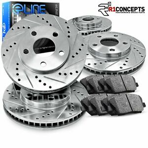 For 1992 1994 Acura Vigor Front Rear Drill Slot Brake Rotors Semi Met Brake Pads